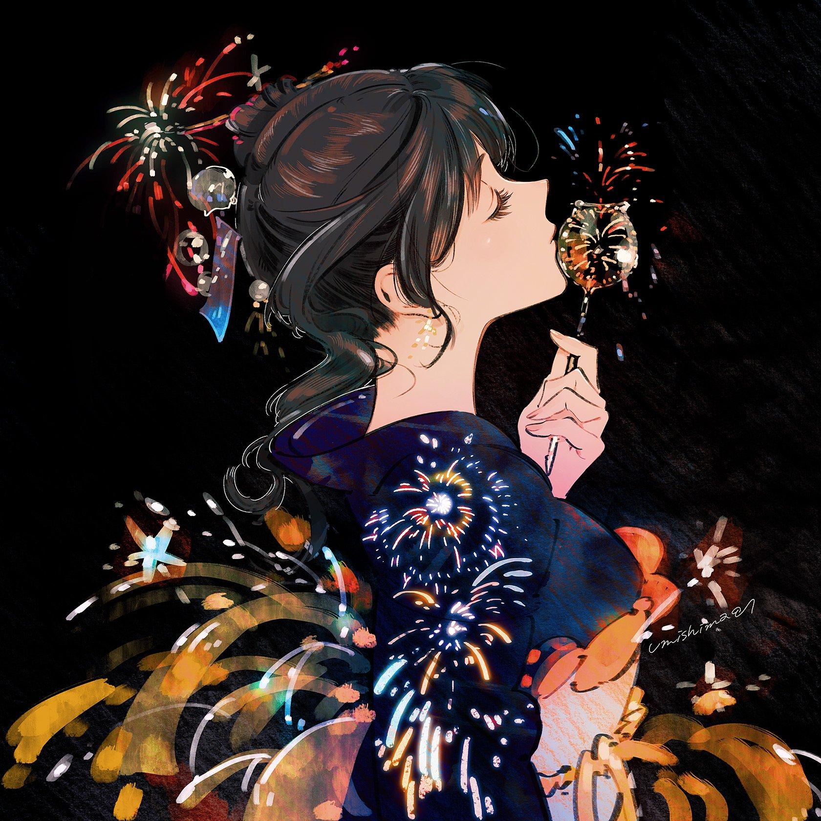 日推画师海島千本作品,夏日火花系列。