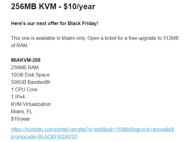 【vps黑五福利】Hostodo:$10/年KVM-512MB/10GB/500GB 迈阿密(2016)