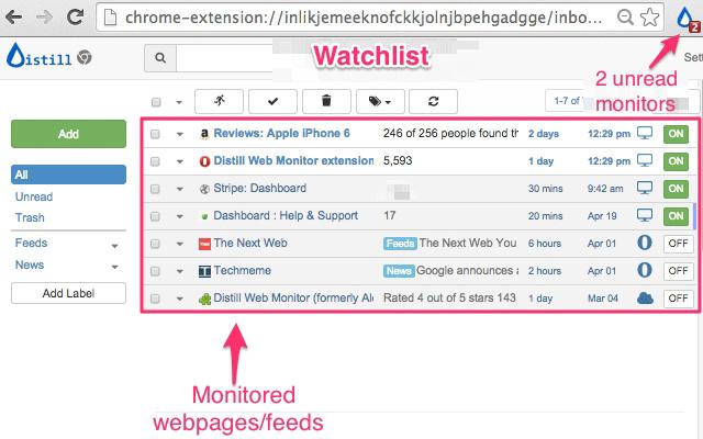 监控网页变更的浏览器扩展 DISTILL WEB MONITOR