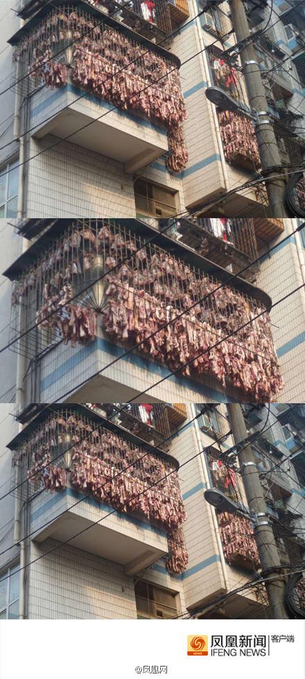 武汉惊现民间真土豪家中窗户挂满腊肉!