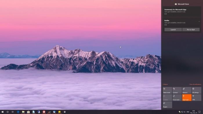 微软已修复Win10中Action Center意外显示在屏幕左侧问题的照片