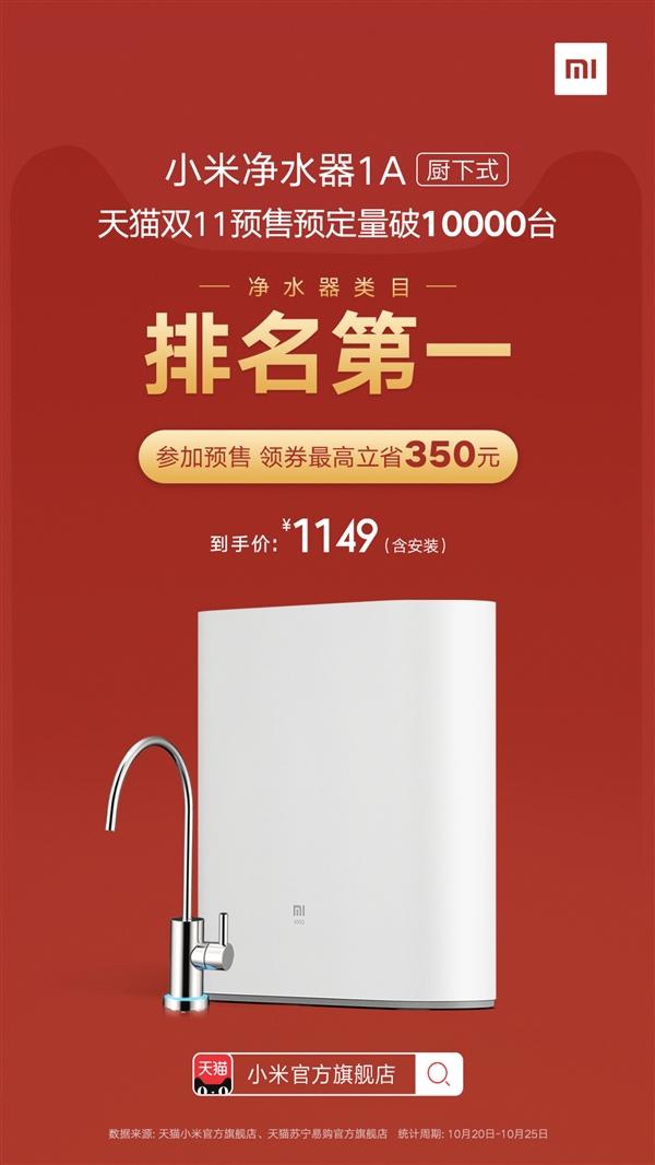 小米净水器1A双11预订获销量/销售额双第一 1149元的照片 - 2