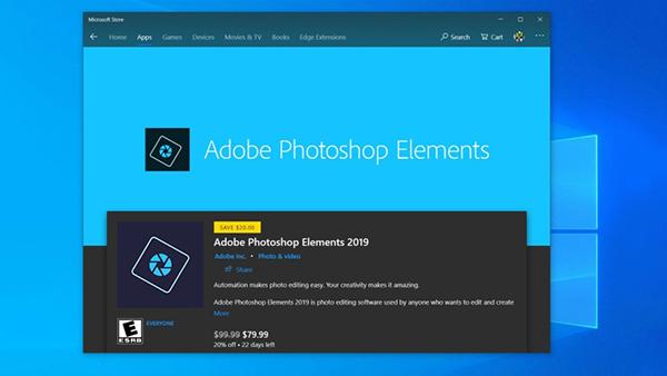 Adobe Photoshop Elements 2019现身微软Windows Store的照片