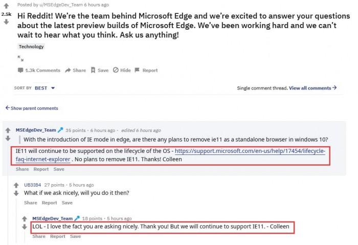 微软:没有计划移除从Win10中移除IE浏览器的照片 - 2