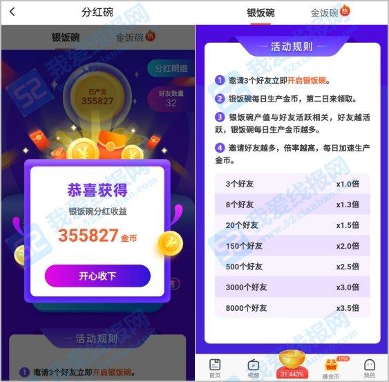趣看天下app新增金银饭碗分红模式,每日分红8元红包