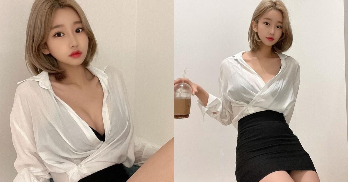 小脸的「俏丽女秘书」!V领衬衫风光无限啊~-新图包