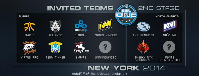 ESL ONE纽约参赛战队
