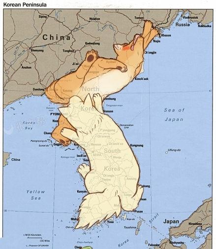 朝鲜和韩国地图的形象秀