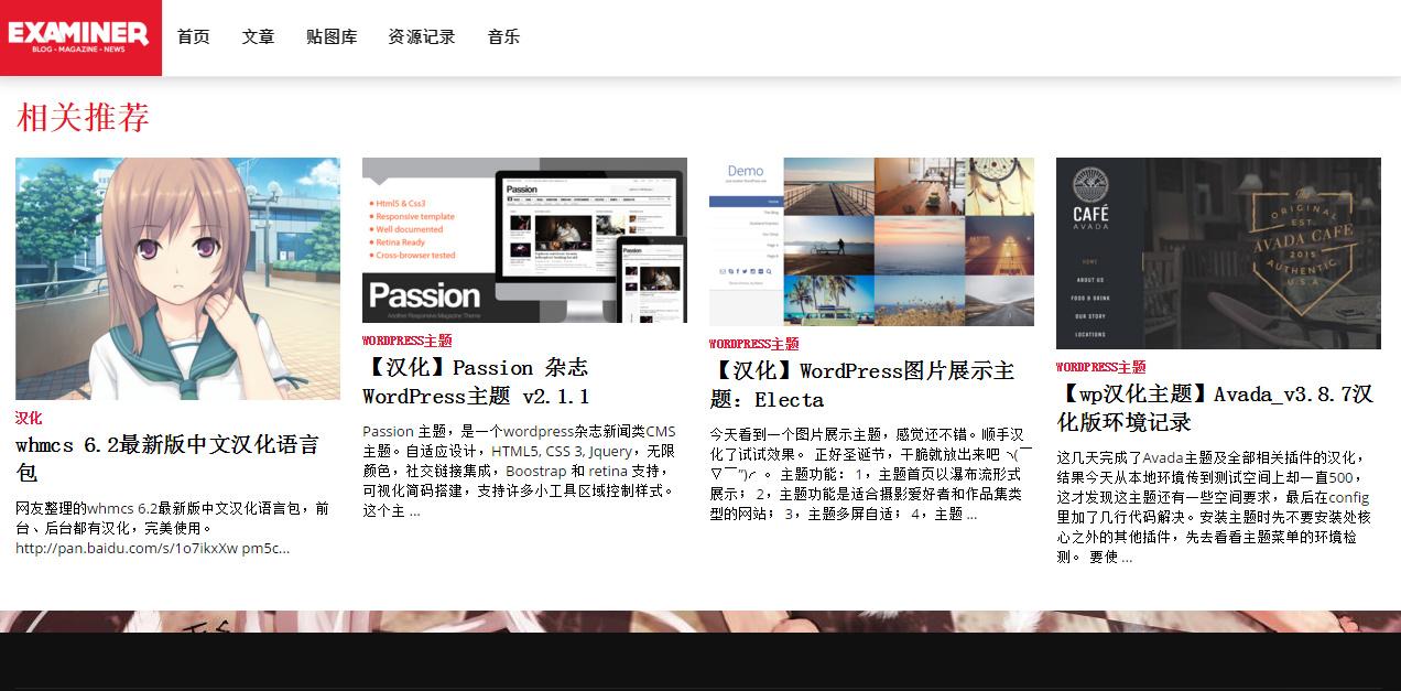 WP主题   【汉化主题】漂亮好用的多功能杂志博客WordPress主题-Examiner