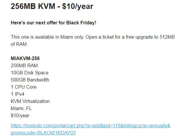 vps主机  【vps黑五福利】Hostodo:$10/年KVM-512MB/10GB/500GB 迈阿密(2016)