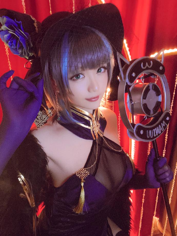 微博人气博主cosplay星之迟迟cos柴郡-音乐绚烂-cos图片